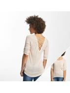 Hailys Camiseta de manga larga Annie 3/4 Lace-Up beis