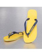 Havaianas Slippers/Sandalen Brasil Logo geel