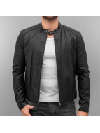 Jack & Jones leren jas jorBlack in Black zwart