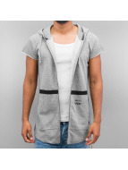 Jack & Jones Sweat à capuche zippé coRavage Cut Off gris