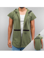 Jack & Jones Sweat à capuche zippé jcoRavage Cut Off olive