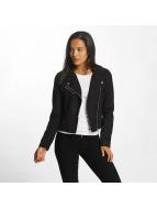JACQUELINE de YONG Leather Jacket jdyPenny Cropped Faux Suede Biker black