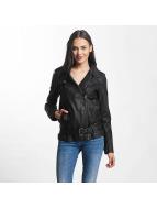 JACQUELINE de YONG jdyErica Long Faux Leather Biker Jacket Black
