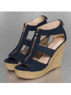 Jumex Slippers/Sandalen Wedge blauw
