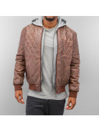 Just Rhyse Lederjacke Hooded braun