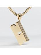 KING ICE Łańcuchy Gold_Plated CZ Barber RZR Blade zloty