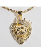 KING ICE Łańcuchy Gold_Plated CZ Roaring Lion zloty