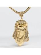 KING ICE Cadena Gold_Plated CZ Masked Jesus oro