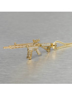 KING ICE Collana Gold_Plated CZ Studded M4 Long Range Assault Rifle oro