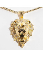 KING ICE Collier EMPIRE FOX Gold_Plated CZ Faceted Lion or