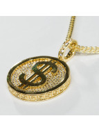 KING ICE Collier Gold_Plated CZ Gold_Fortune Coin or
