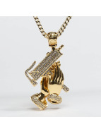 KING ICE Colliers Gold_Plated CZ Praying Hands Of Defense or