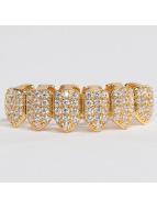 KING ICE Diğer Gold_Plated CZ Studded Teeth Bottom altın