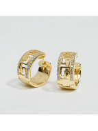 KING ICE Earring Gold_Plated 925 Sterling_Silver CZ Greek Key Hoop gold colored
