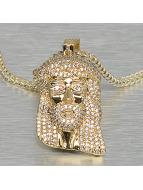 KING ICE Kaulaketjut Small Solid Jesus kullanvärinen