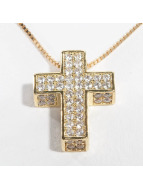 KING ICE Kette Gold_Plated CZ 925 Sterling_Silver Dime Cross goldfarben