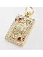 KING ICE ketting Gold_Plated CZ Suicide King goud