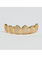 KING ICE More Gold_Plated CZ Studded Teeth Top gold colored