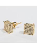 KING ICE Náušnice Gold_Plated 3D Hip Hop zlatá