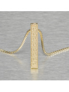 KING ICE Necklace Greek Key Pillar gold