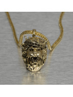 KING ICE Necklace King Lion Crown gold colored