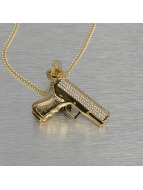 KING ICE Necklace Handgun gold colored