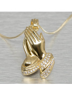 KING ICE Necklace Praying Hand gold colored