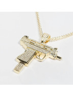 KING ICE Necklace Gold_Plated CZ Uzi gold colored