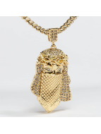 KING ICE Necklace Gold_Plated CZ Masked Jesus gold colored