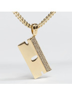 KING ICE Necklace Gold_Plated CZ Barber RZR Blade gold colored