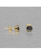 KING ICE oorbel Gold_Plated 6mm 925 Sterling_Silver CZ Black goud