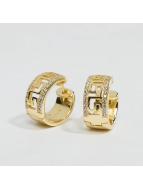 KING ICE Pendiente Gold_Plated 925 Sterling_Silver CZ Greek Key Hoop oro