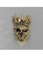 KING ICE Ring Gold_Plated Vintage Crowned Skull goldfarben