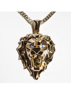 KING ICE Zincirler EMPIRE FOX Gold_Plated Faceted Lion altın