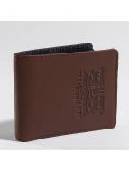 Levi's® portemonnee Leather & Denim Bifold bruin