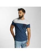 Lindbergh T-Shirt Striped Pocket blau