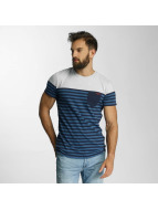Lindbergh T-Shirt Striped Pocket blue
