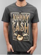 Merchcode t-shirt Johnny Cash Man In Black grijs