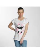 Merchcode T-shirts Ladies Banksy Panda Heart hvid