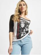 Mister Tee T-Shirt Ladies 5 Seconds Of Summer Stacked Raglan blanc