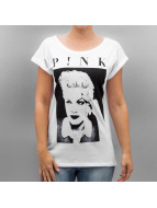 Mister Tee T-shirtar Ladies Pink Portrait vit