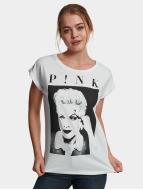 Mister Tee T-skjorter Ladies Pink Portrait hvit