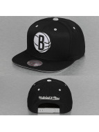 Mitchell & Ness Snapback Caps Solid Velour Brooklyn Nets Logo musta