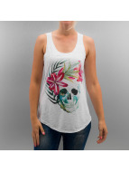 Monkey Business Top Skull Beautiful Flower blanc
