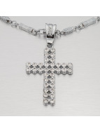 MSTRDS Necklace Hip Hop Style Cross2Rows silver colored