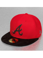 New Era Casquette Fitted Diamond Suede Atlanta Braves rouge