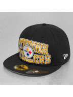 New Era Fitted Cap Logo Stack On Pittsburgh Steelers schwarz