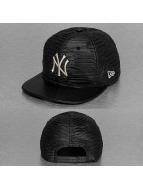 New Era Snapback Cap Leather Wave New York Yankees schwarz