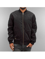 New Era Veste en cuir Crafted Suede Letterman noir