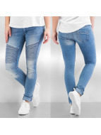 Noisy May Skinny Jeans mEve Low Waisted Super Stretch Skinny Biker niebieski